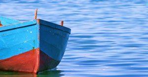 The sea of Bari. Picture of a fishing boat in Bari, Apulia