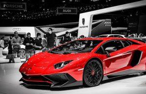 Red Ferrari car, Geneva Motor Show, Switzerland