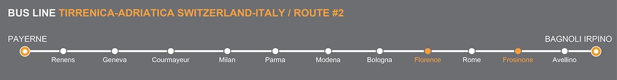 Bus lineSvizzera-Italia. Bus stops Florence-Frosinone. The bus line is operated by Autolinee Sellitto. Sellitto linkavel Frosinone.