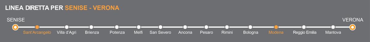 Linea Bus Senise-Verona. Fermate bus Sant'Arcangelo-Modena. La linea è operata da Autolinee Ventre. Pullman da Sant'Arcangelo a Modena. Bus Sant'Arcangelo - Modena, viaggia in pullman verso l'Emilia.