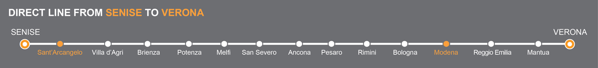 Bus line Senise-Verona. Bus stops Sant'Arcangelo-Modena. The bus line is operated by Autolinee Ventre. Ventre linkavel Modena. Bus Sant'Arcangelo - Modena, travel by bus to Emilia Romagna