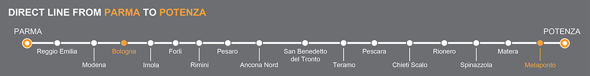 Bus line Parma-Potenza. Bus stops Bologna-Metaponto