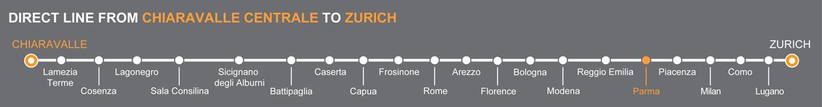 Bus line Chiaravalle-Zurich. Bus stops Lamezia Terme-Parma