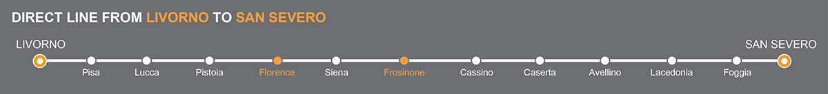 Bus line Livorno-San Severo. Bus stops Florence-Frosinone. The bus line is operated by Autolinee Zampetti. Zampetti linkavel Frosinone.