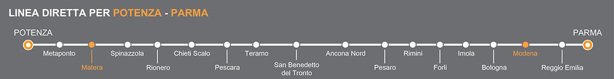 Linea Bus Parma-Potenza. Fermate bus Matera-Modena. La linea è operata da Petruzzi Autolinee. Pullman da Matera a Modena. Bus Matera - Modena, viaggia in pullman verso l'Emilia.