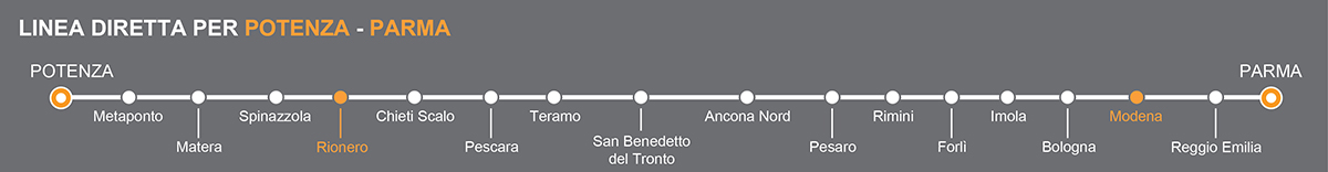Linea Bus Parma-Potenza. Fermate bus Rionero in Vulture-Modena. La linea è operata da Petruzzi Autolinee. Pullman da Rionero in Vulture a Modena. Bus Rionero in Vulture - Modena, viaggia in pullman verso l'Emilia.