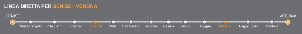 Linea Bus Senise-Verona. Fermate bus Potenza-Modena. La linea è operata da Autolinee Ventre. Pullman da Potenza a Modena. Bus Potenza - Modena, viaggia in pullman verso l'Emilia.