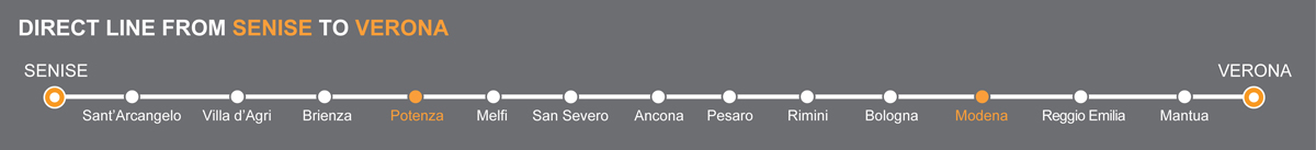 Bus line Senise-Verona. Bus stops Potenza-Modena. The bus line is operated by Autolinee Ventre. Ventre linkavel Modena. Bus Potenza - Modena, travel by bus to Emilia Romagna