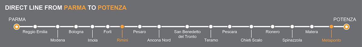 Bus line Parma-Potenza. Bus stops Rimini-Metaponto