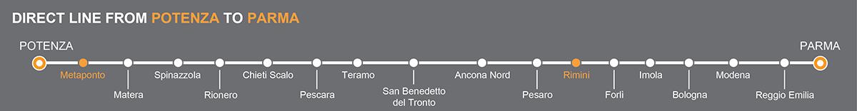 Bus line Potenza-Parma. Bus stops Metaponto-Rimini
