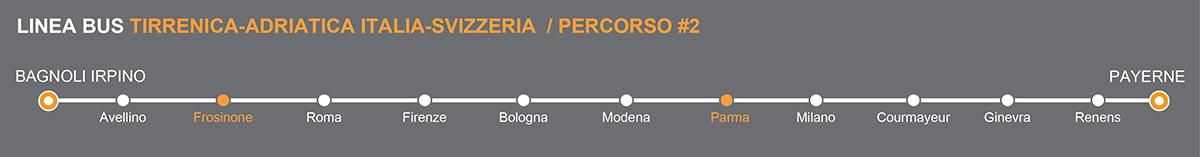 Linea bus Svizzera-Italia operata da Autolinee Sellitto. Fermate bus Frosinone - Parma. Linkavel Sellitto Frosinone