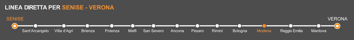 Linea Bus Senise-Verona. Fermate bus Senise-Modena. La linea è operata da Autolinee Ventre. Pullman da Senise a Modena. Bus Senise - Modena, viaggia in pullman verso l'Emilia.