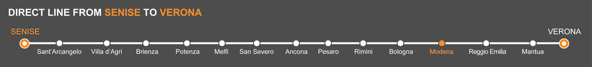 Bus line Senise-Verona. Bus stops Senise-Modena. The bus line is operated by Autolinee Ventre. Ventre linkavel Modena. Bus Senise - Modena, travel by bus to Emilia Romagna